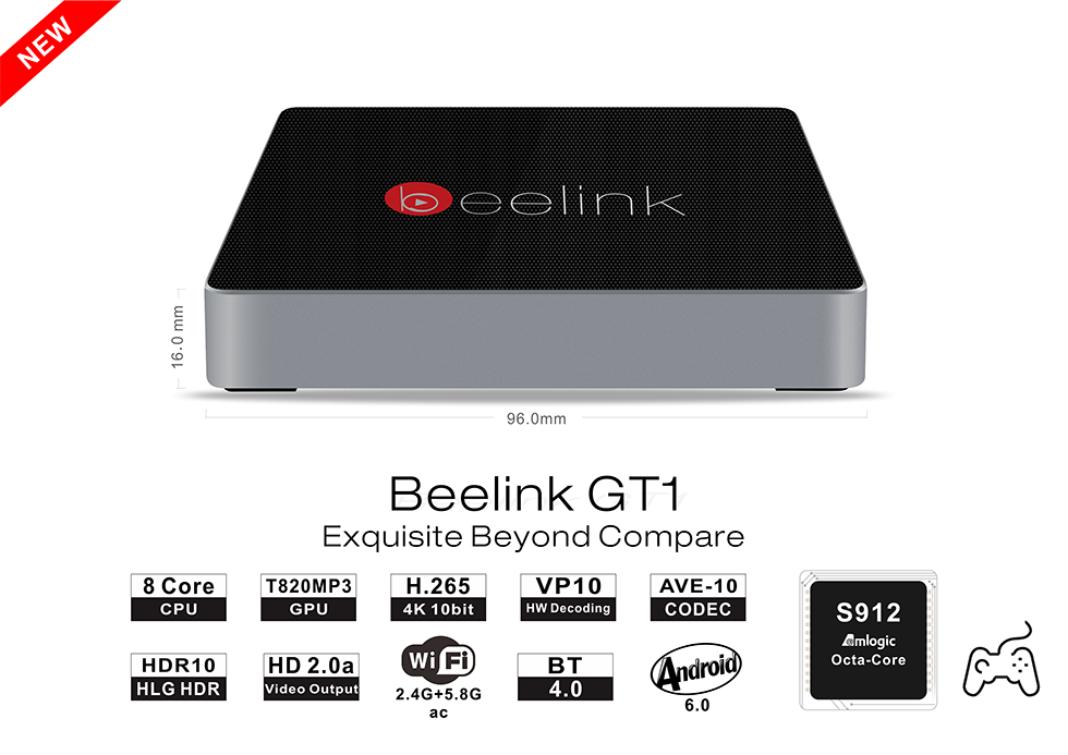 Beelink GT1 4K TV Box with Amlogic S912 DDR3 2G, eMMC 16G up to 32G and Remote Upgrade
