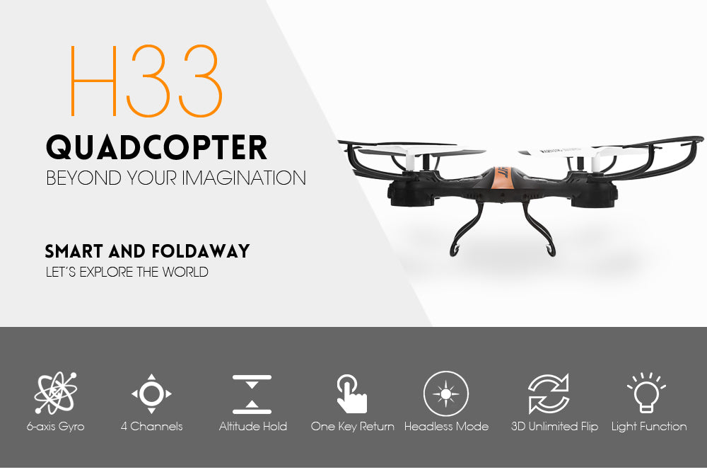 Original JJRC H33 WiFi RC Quadcopter 2.4G 4CH 6-axis Gyro Headless Mode Remote Control Drone RTF with LED Light toy