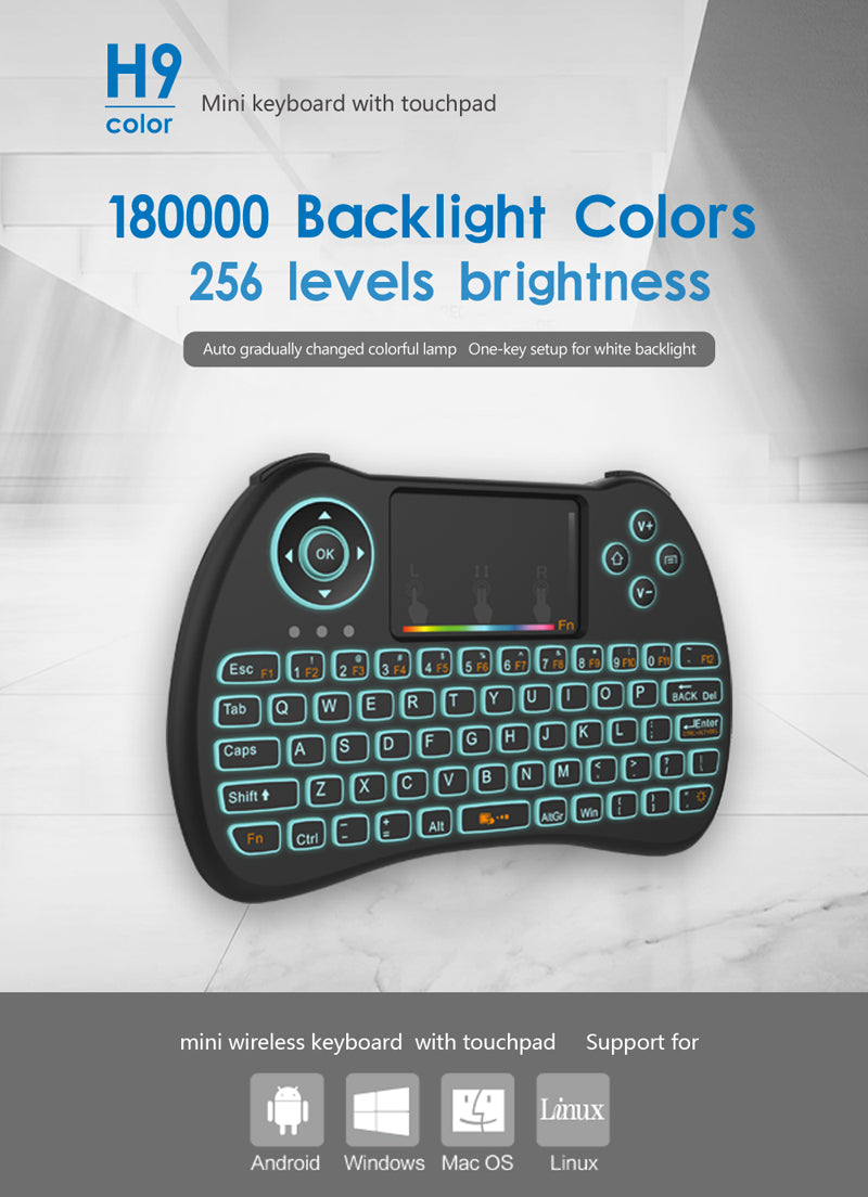 XSCAPE H9 Colorful Backlit 2.4GHz Mini English Wireless Keyboard with Touchpad Mouse, Rechargeable Li-ion Battery