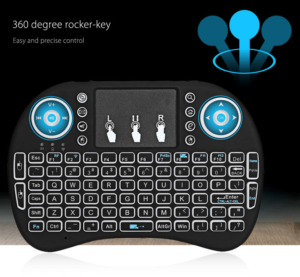 XSCAPE i8 2.4GHz Mini Wireless Keyboard with Touchpad Mouse, LED Backlit, Rechargeable Li-ion Battery
