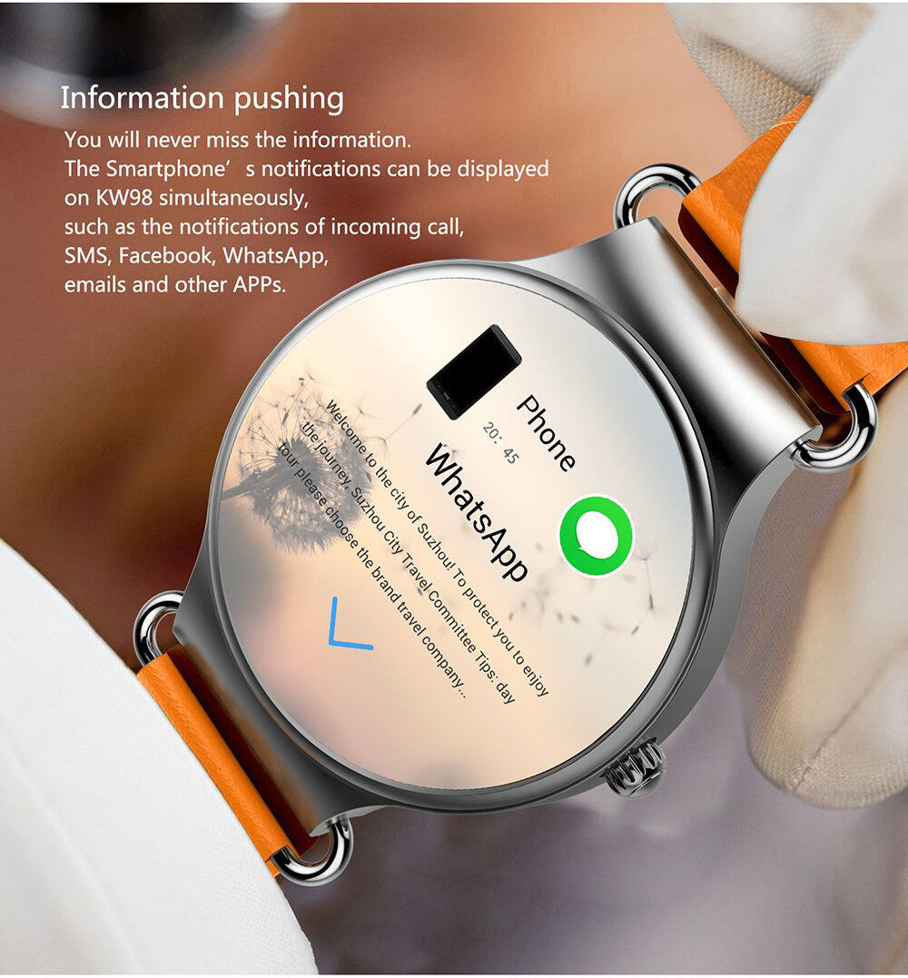 KingWear KW98 3G Smartwatch Phone Android 5.1 1.39'' MTK6580 Quad Core 1.0GHz 8GB ROM GPS Heart Rate Measurement Pedometer