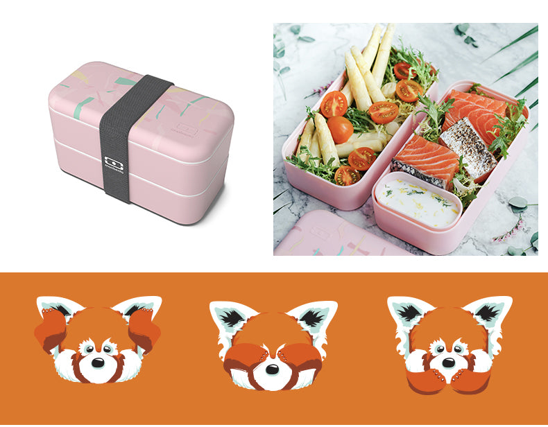 MONBENTO Japanese-style lunchbox double layer grid can be heated microwave plastic separated lunch box