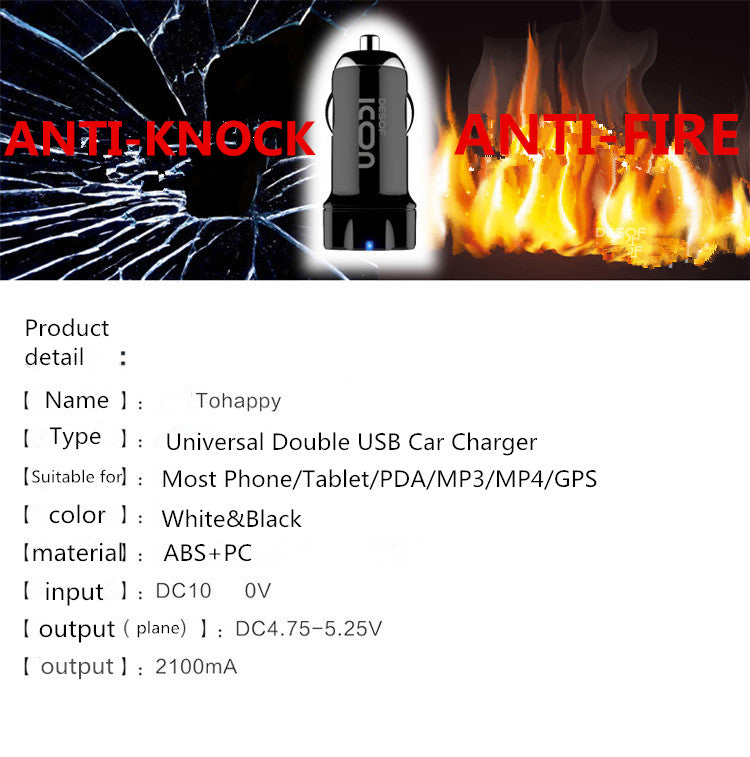 USB Car Charger ICONFLANG Dual USB Charger Charging Cell Phone Car-Chargers Travel Adapter Cigar Lighter
