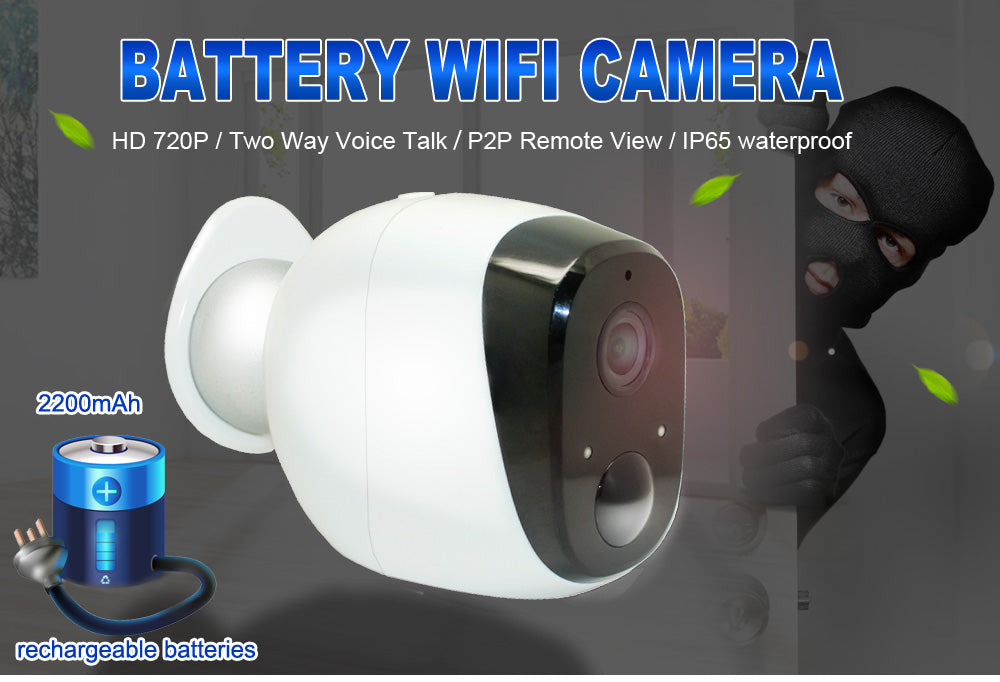 Wetrans Wire-Free Wireless Battery IP Camera 720P HD Weatherproof Outdoor Home Security P2P PIR WiFi Camera with Battery IP Cam