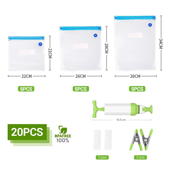 20Pcs/set Bag Kits Reusable Food Storage Vacuum Seal Bags With Hand Pump - Gadget World