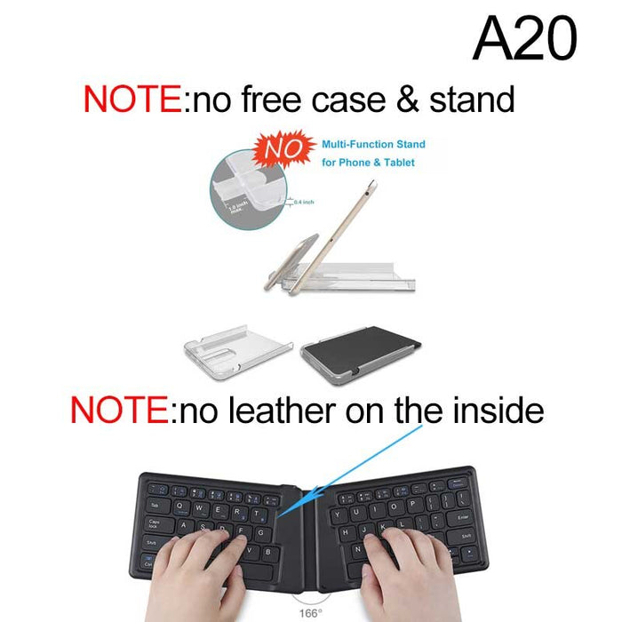 Portable Leather Folding Mini Bluetooth Keyboard - Gadget World