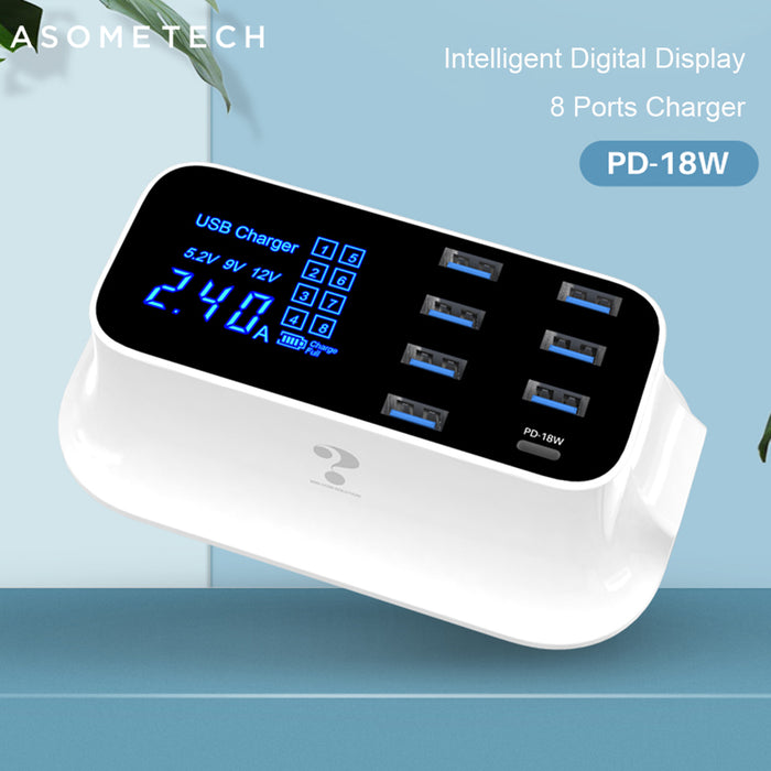 8 Ports Quick Charge 3.0 LED Display USB Charger - Gadget World