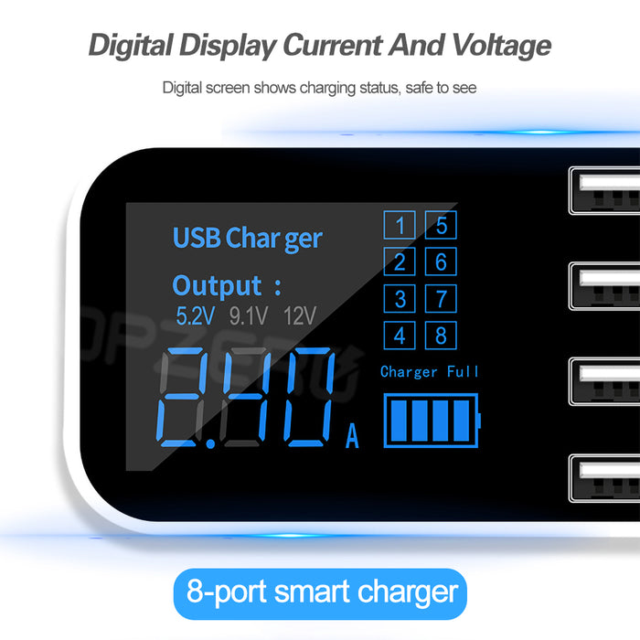 8 Ports USB Car Charger with Display - Gadget World