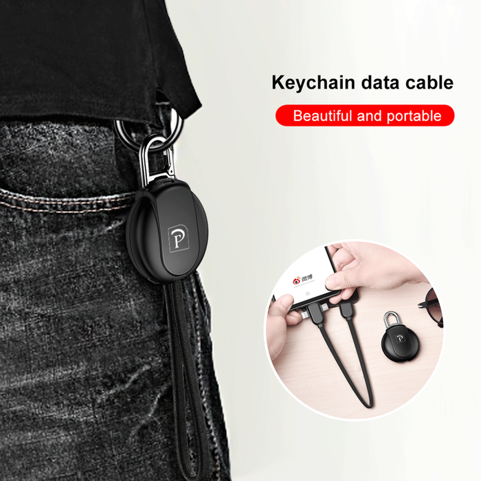 Fast Charging Keychain Design 3-In-1 Data Cable