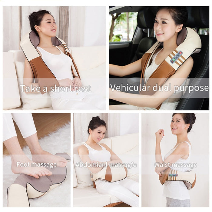 U Shape Electrical Shiatsu Back Neck Shoulder Body Massager - Gadget World