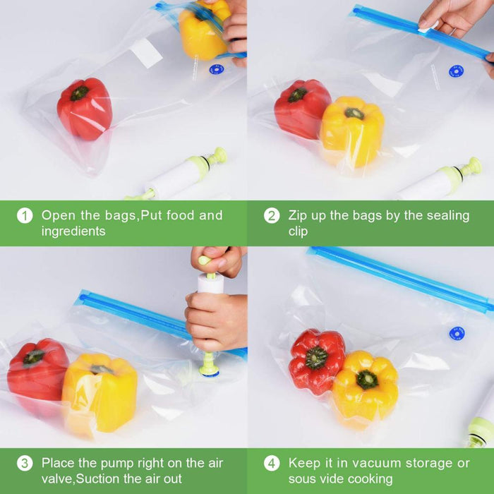 20PCS Vacuum Sealed Bags Food Saver Storage Hand Pump Reusable W// Four Clips
