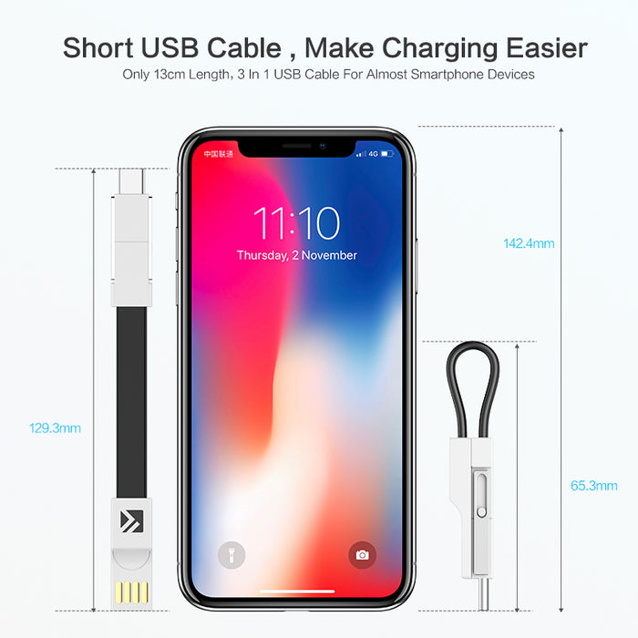 3-In-1 Keychain Charging Cable - Gadget World