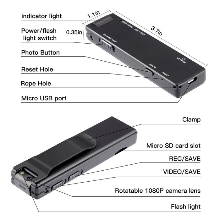 Mini Digital Camera HD Flashlight Micro Cam Magnetic Body Camera Motion Detection - Gadget World