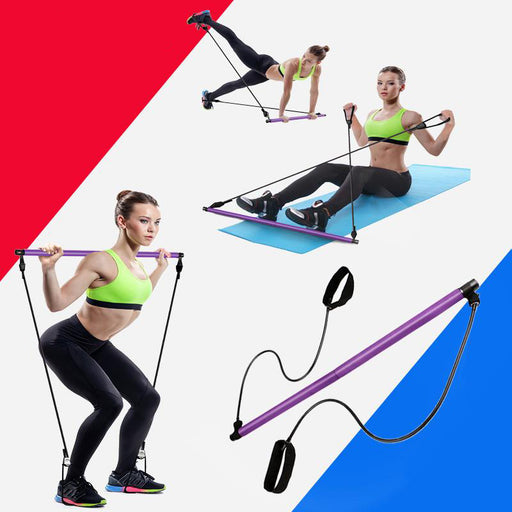 Resistance Bands Pilates Stick Rubber Tube Elastic Bands - Gadget World