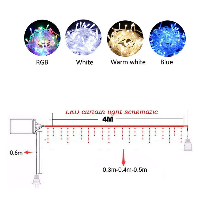 Christmas Garland LED Curtain Icicle String Light 220V 4.5m 100 LEDs - Gadget World