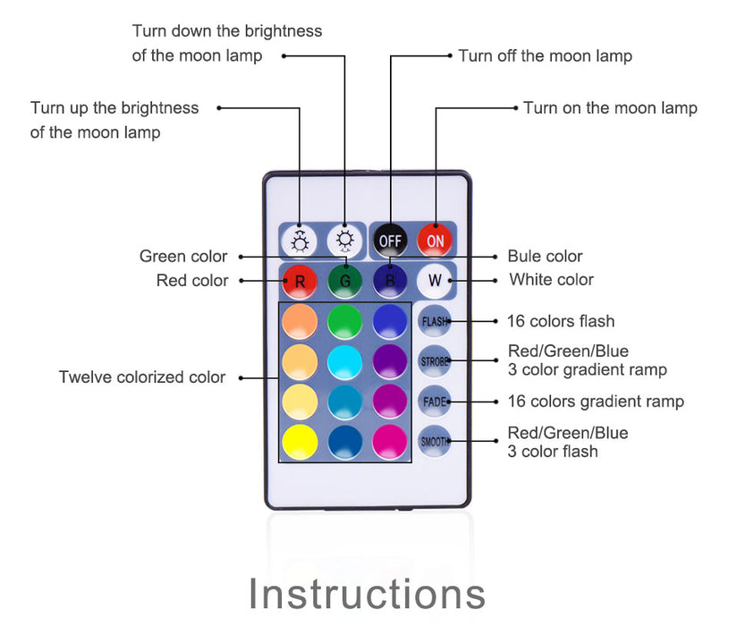 Rechargeable Tap Control Moon Lamp Colors Selector with Remote - Gadget World