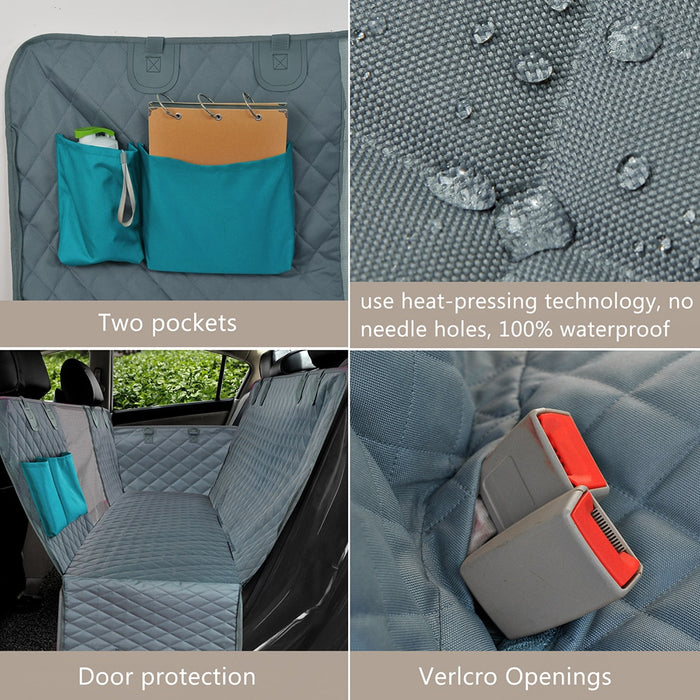 Waterproof Pet Carrier Car Rear Back Seat Mat Hammock Cushion Protector With Zipper And Pockets - Gadget World