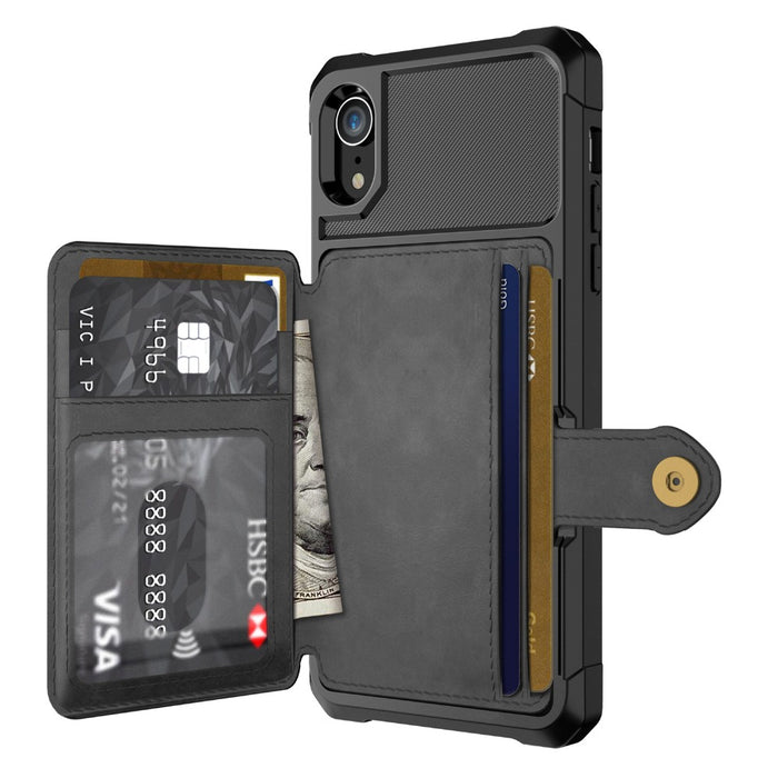 Leather Wallet Flip Case with Buckle for iPhone - Gadget World