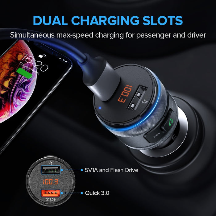 Handsfree Bluetooth FM Transmitter USB QC Quick 3.0 Fast Charger - Gadget World