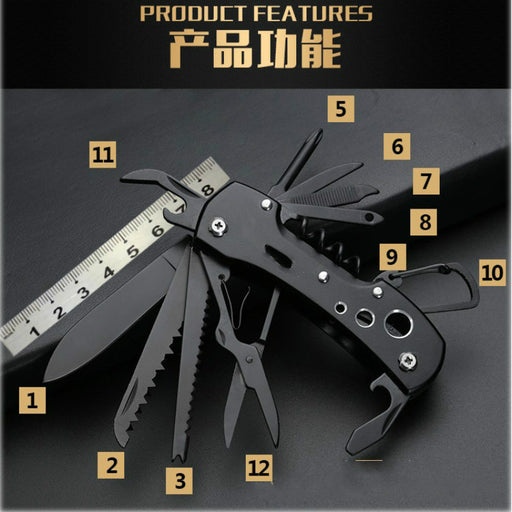 12-In-1 Pocket Folding Outdoor Survival Camping Fishing Huntsman Knives - Gadget World