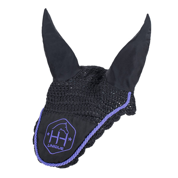 close contact crochet lycra horse fly veil ears in purple on black