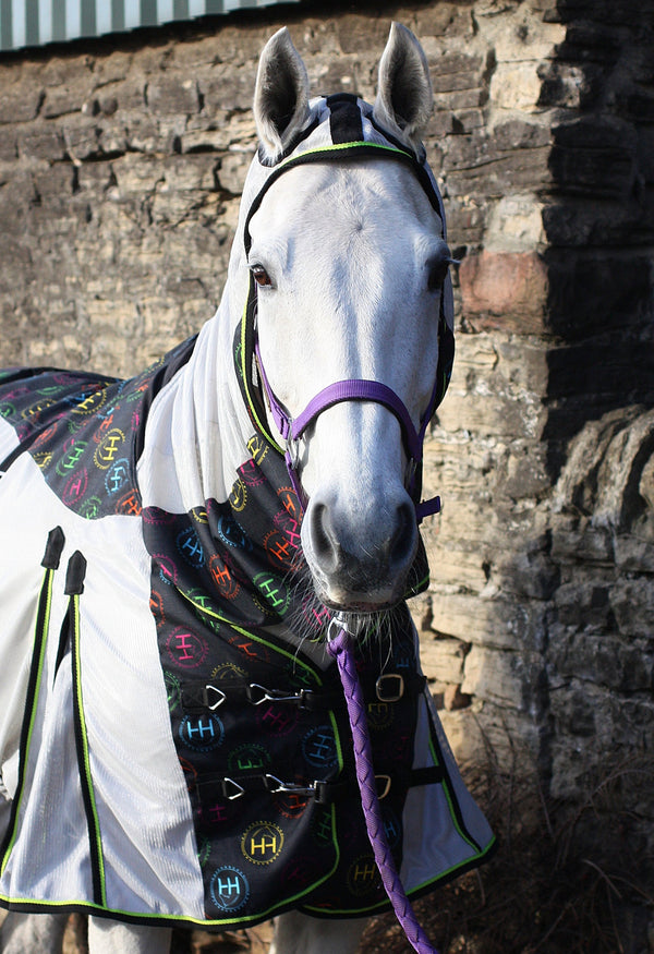 white horse wears full neck mesh fly rug with waterproof 1200d section