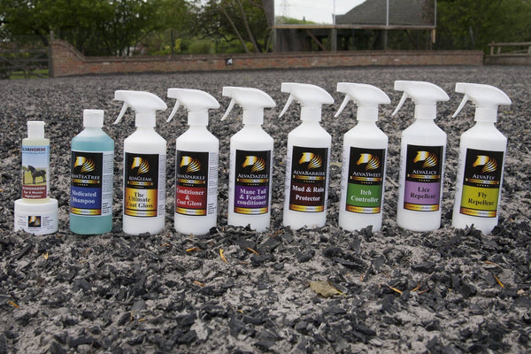 A selection of alvahorse products and sprays