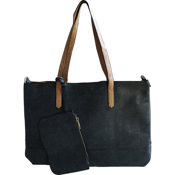 Brushed 2 in 1 Tote - Black