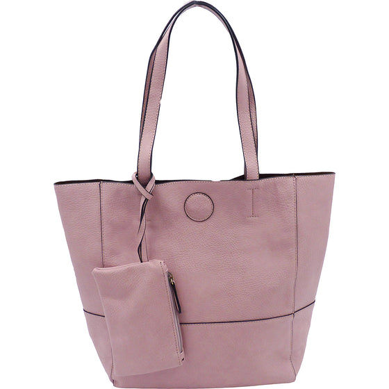 Raw Edge Tote Handbag With Coinpurse - Blush
