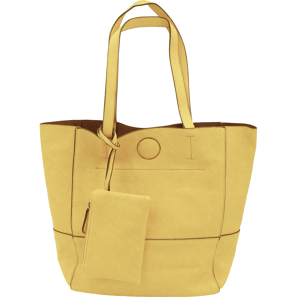 Raw Edge Tote Handbag With Coinpurse - Buttercup
