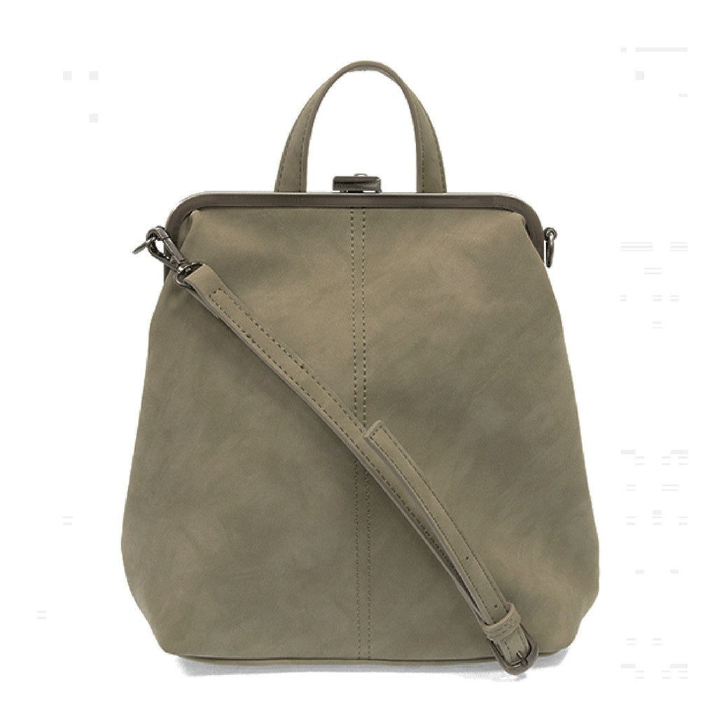 Phyllis Nubuck Frame Convertible Backpack - Cement
