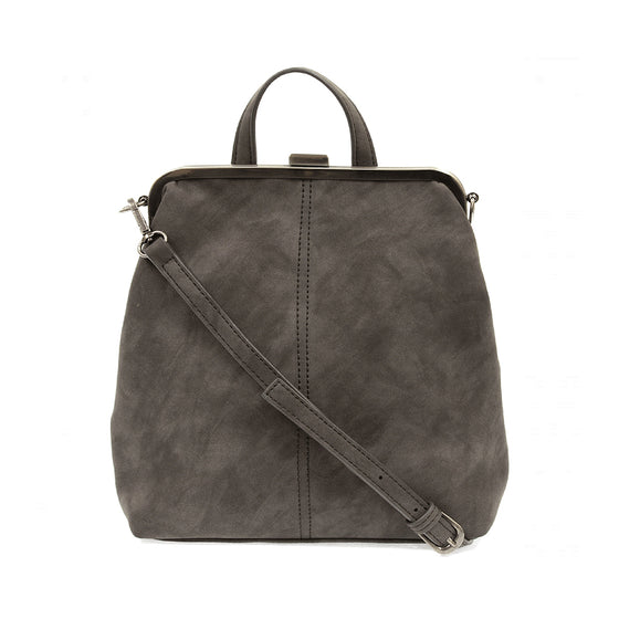 Phyllis Nubuck Frame Convertible Backpack - Charcoal