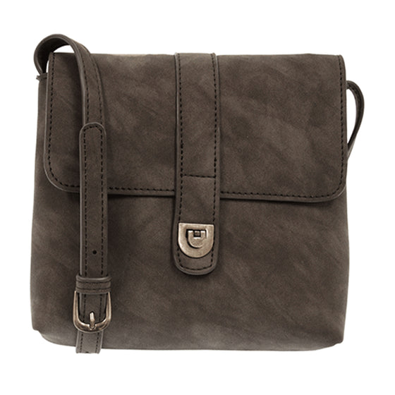 Rachel Nubuck Flip Lock Cross Body - Charcoal