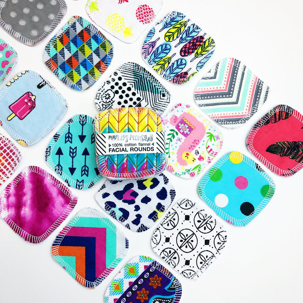 Facial Rounds - in Mixed Prints, Lemon or Organic Natural/White by Marley's Monsters