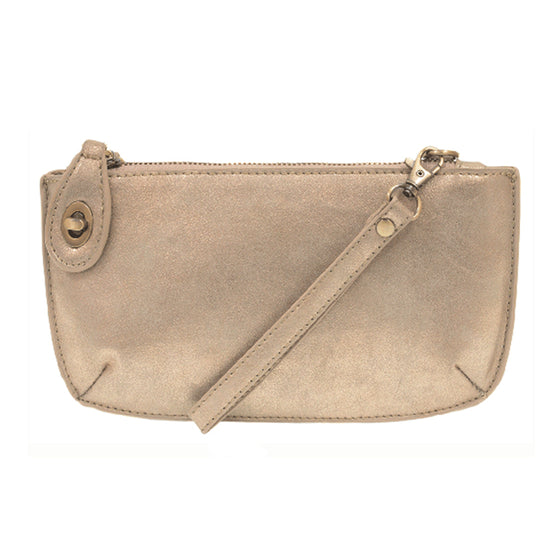 Lustre Lux Cross Body Wristlet Clutch - Gold