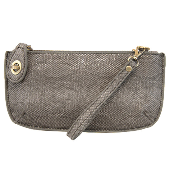 Python Cross Body Wristlet Clutch - Gunmetal