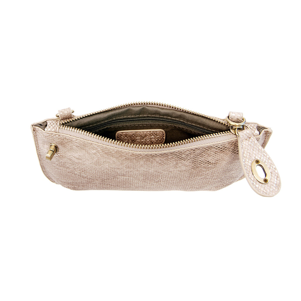Python Cross Body Wristlet Clutch - Natural