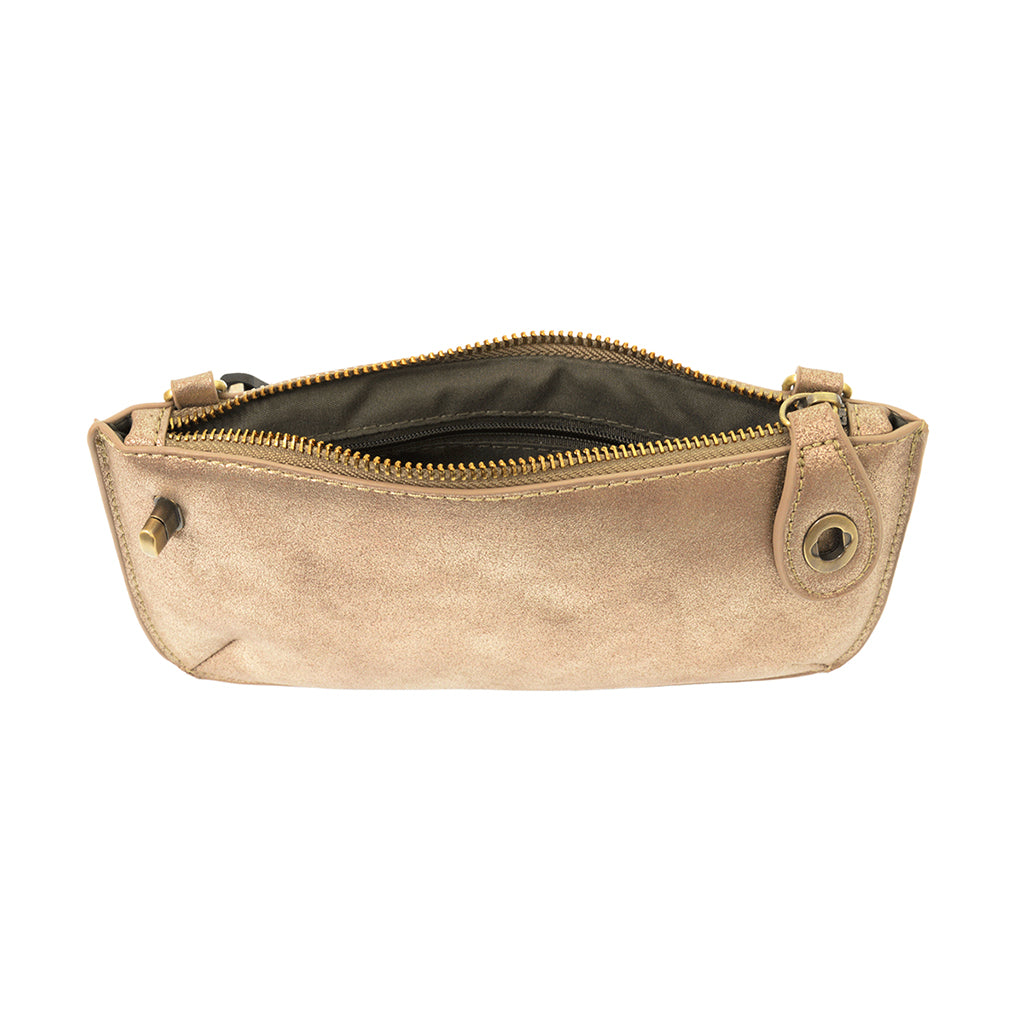 Lustre Lux Cross Body Wristlet Clutch - Rose Gold
