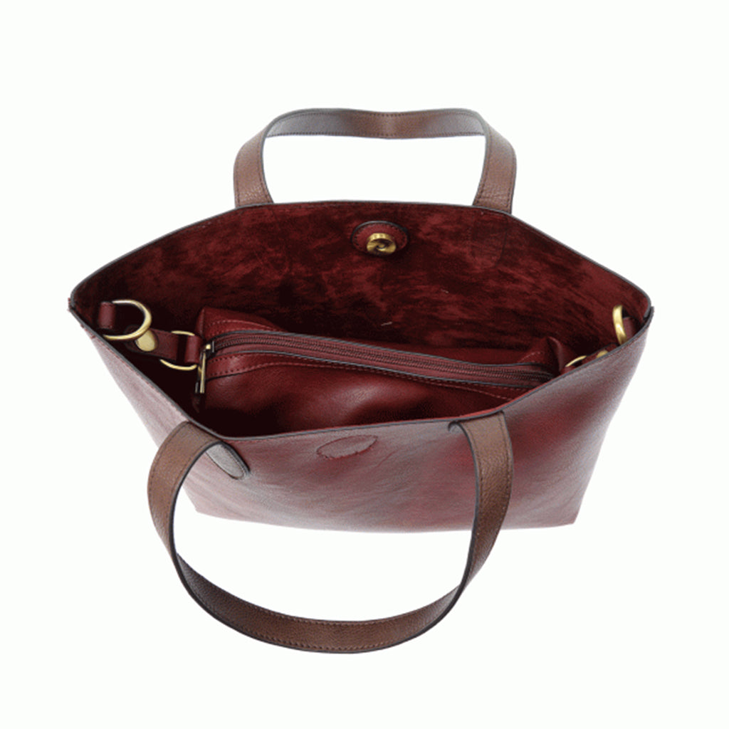 Mariah Medium Convertible Tote - Merlot