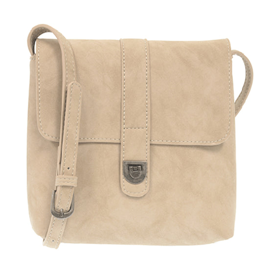 Rachel Nubuck Flip Lock Cross Body - Ivory