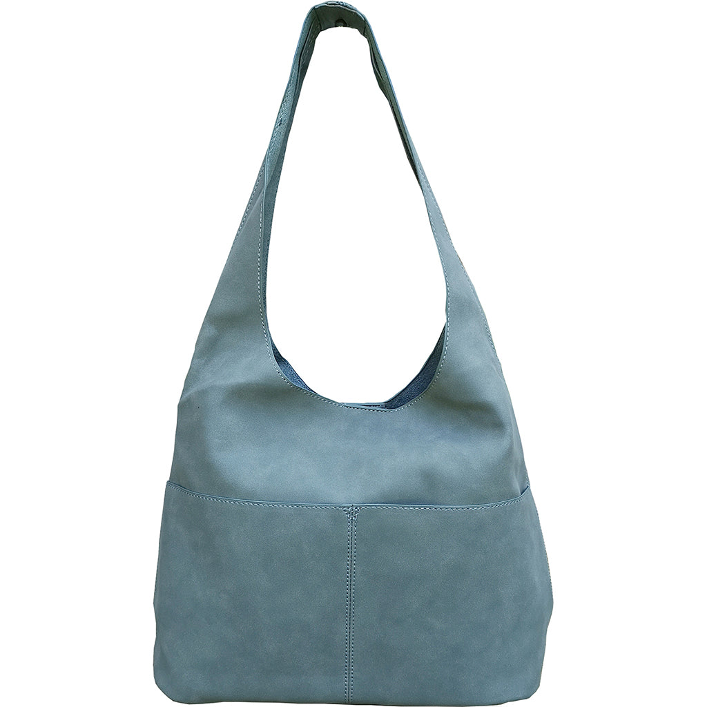 Jenny Faux Suede Hobo - Dusty Blue