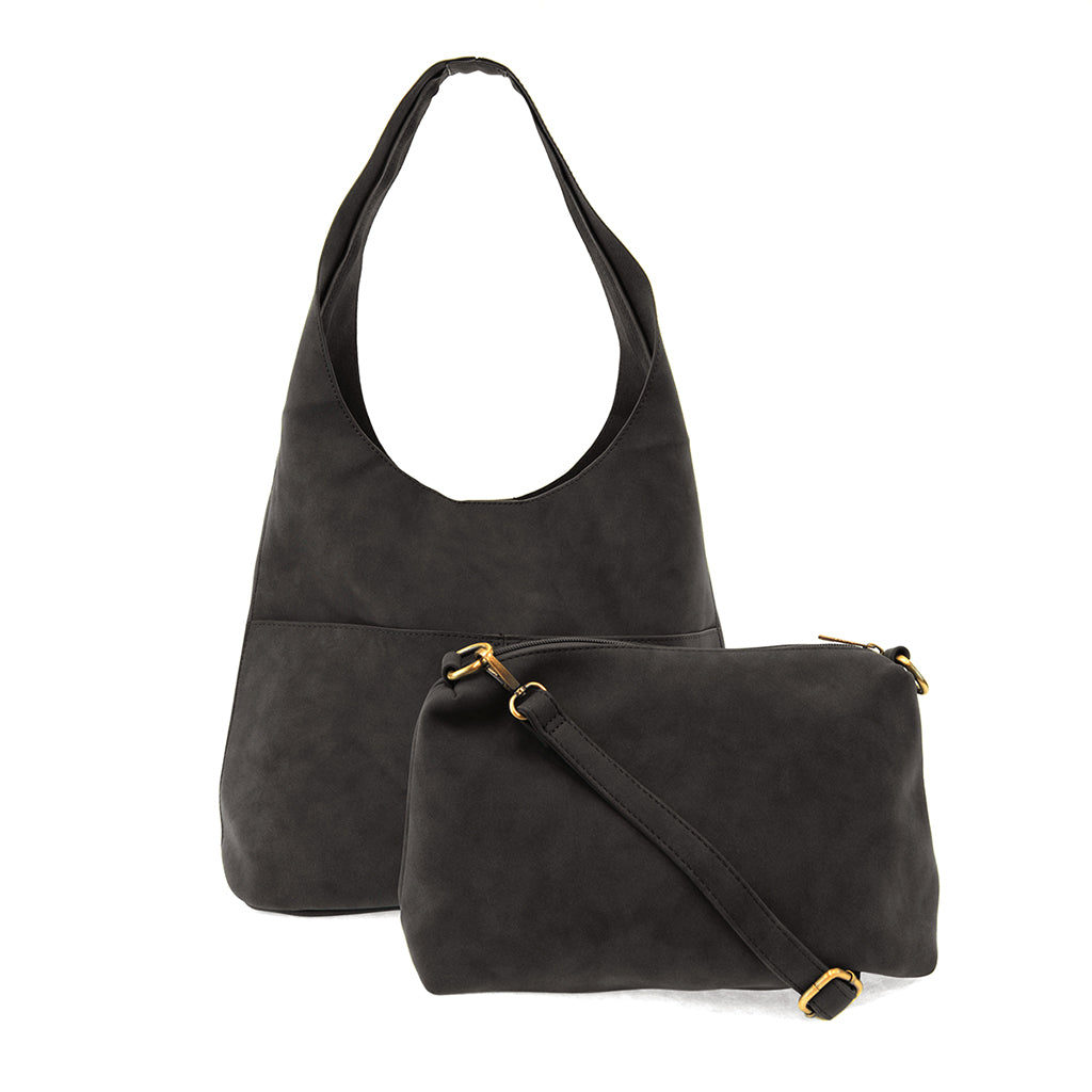 Jenny Faux Suede Hobo - Black