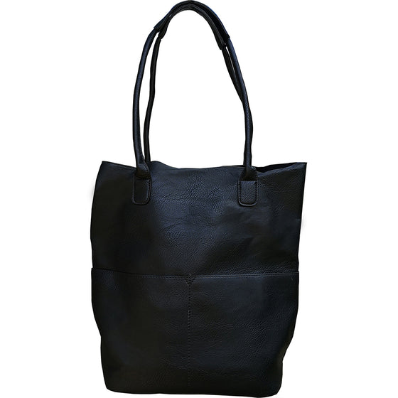 Kelly North South Front Pocket Tote - Black