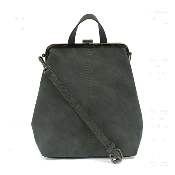 Phyllis Nubuck Frame Convertible Backpack - Peacock