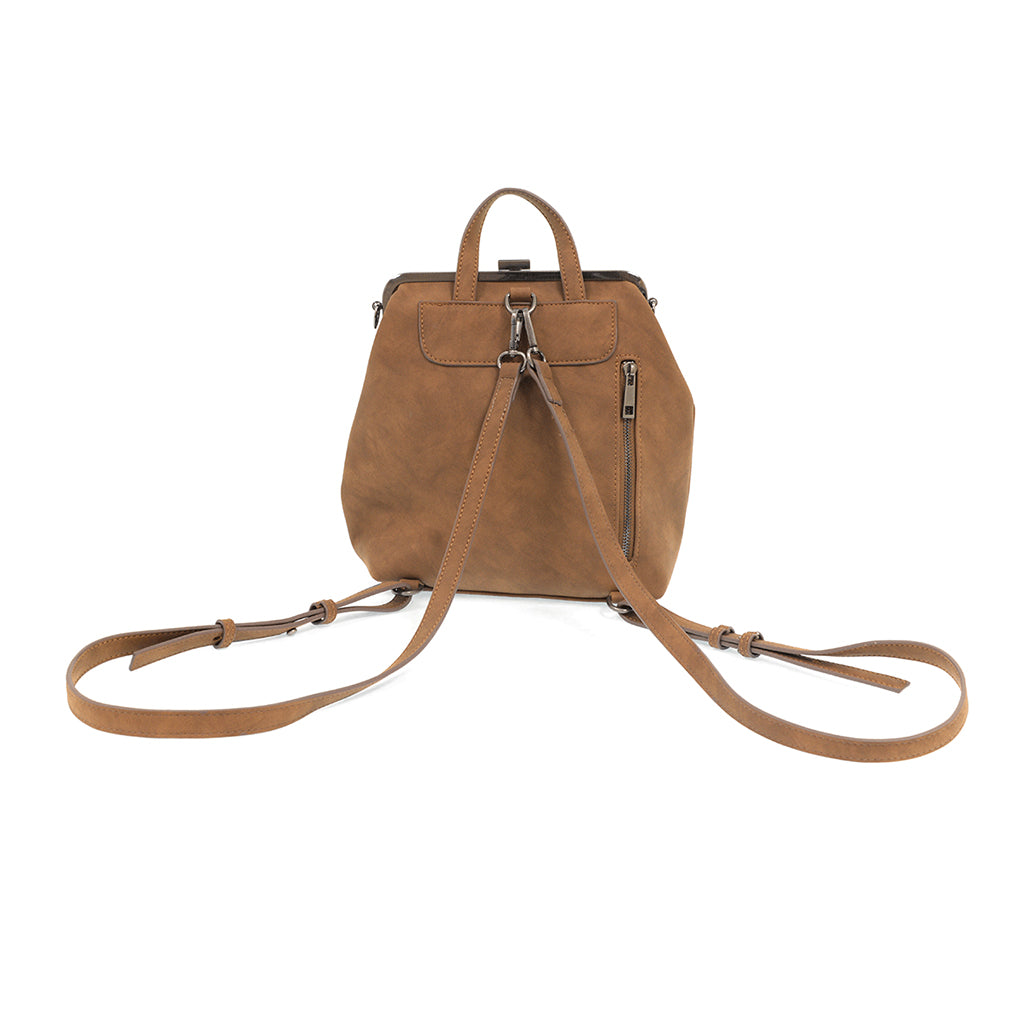 Phyllis Nubuck Frame Convertible Backpack - Chestnut