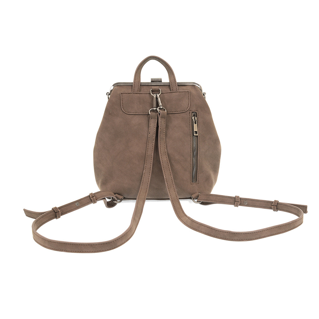 Phyllis Nubuck Frame Convertible Backpack - Chocolate