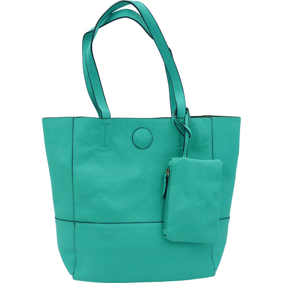 Raw Edge Tote Handbag With Coinpurse - Seafoam