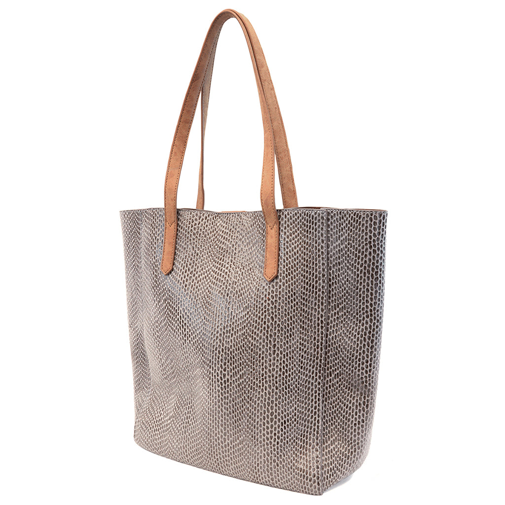 Python Emma Tote Bag - Light Grey