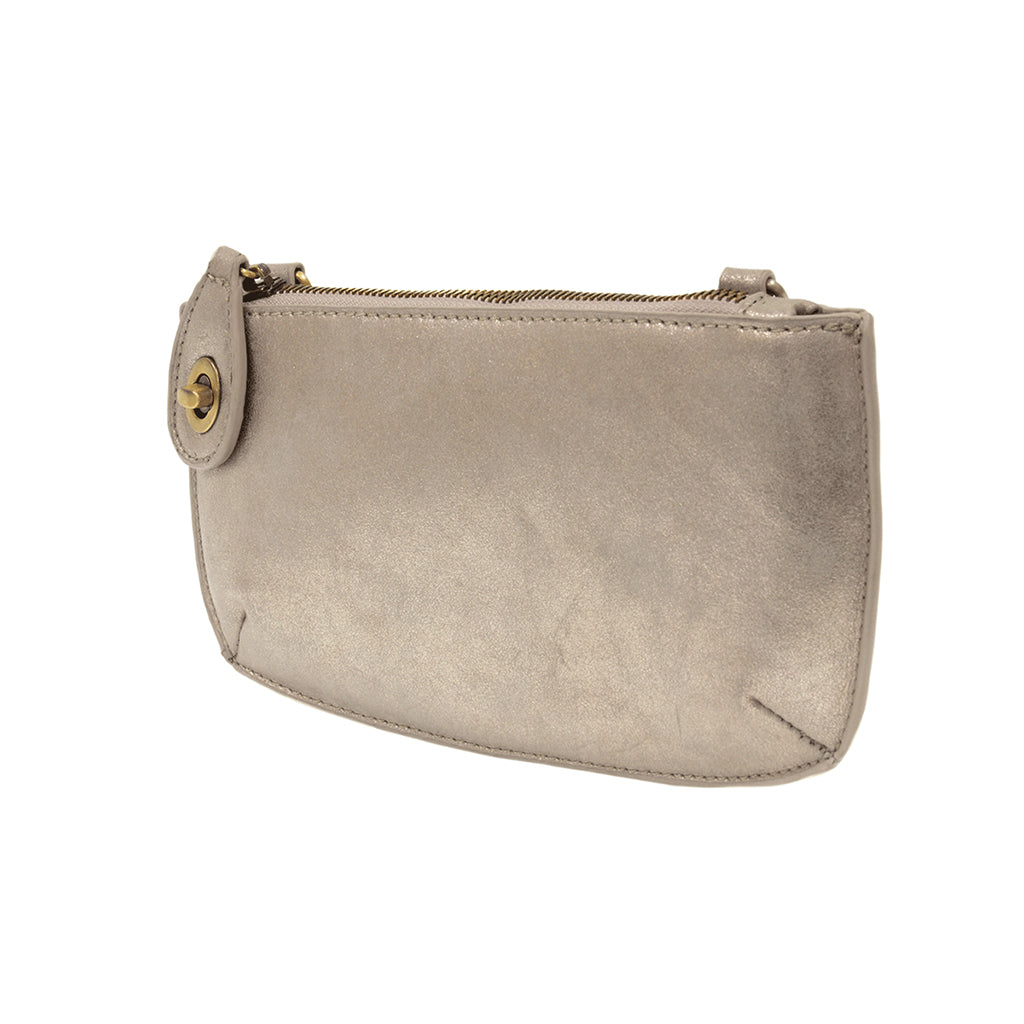 Lustre Lux Cross Body Wristlet Clutch - Silver
