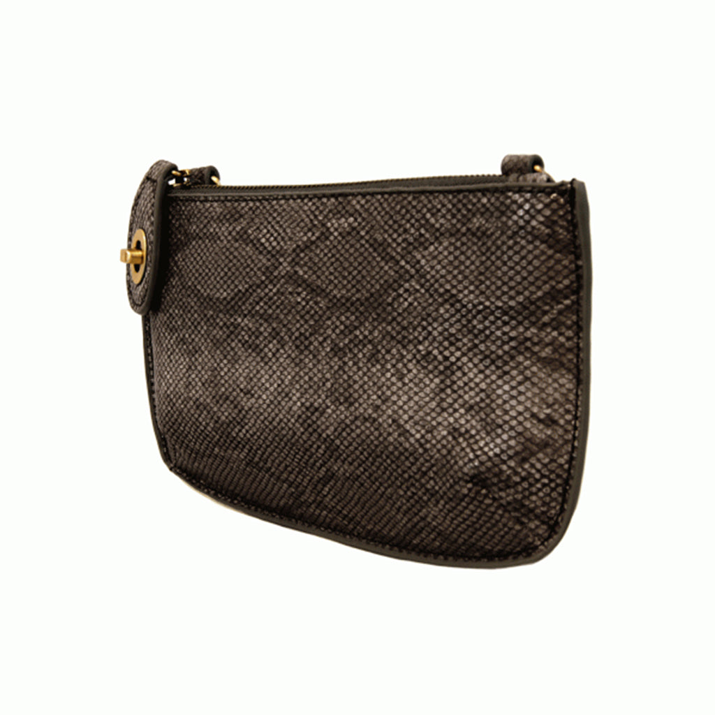 Python Cross Body Wristlet Clutch - Black